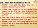 checklist for micro observers