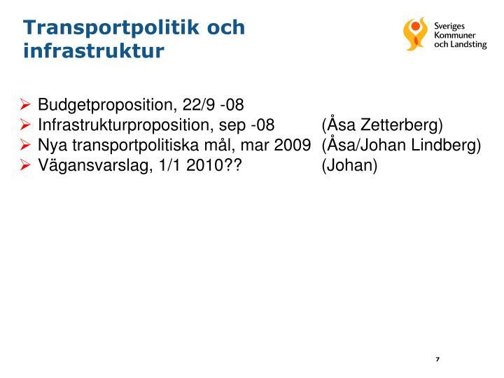 Transportpolitik och infrastruktur