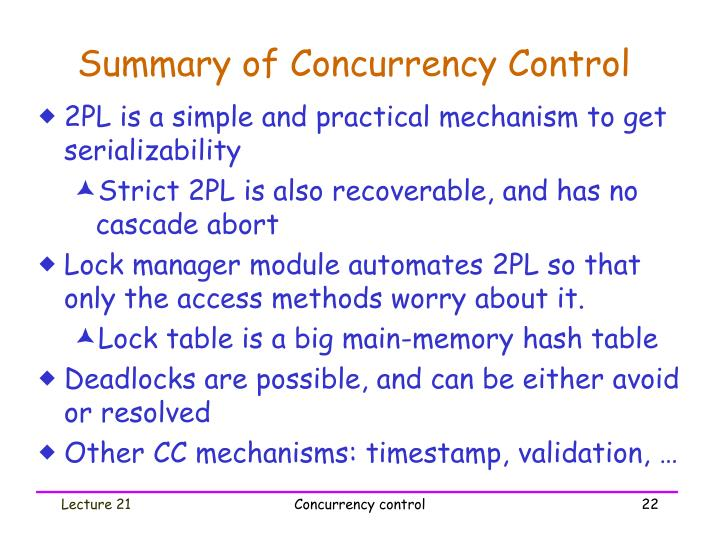 Summary of Concurrency Control