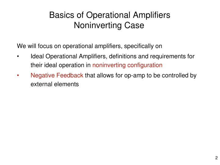 Basics of operational amplifiers noninverting case