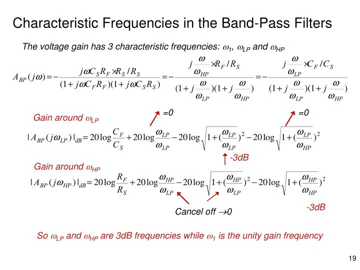 Characteristic Frequencies in the Band-Pass Filters
