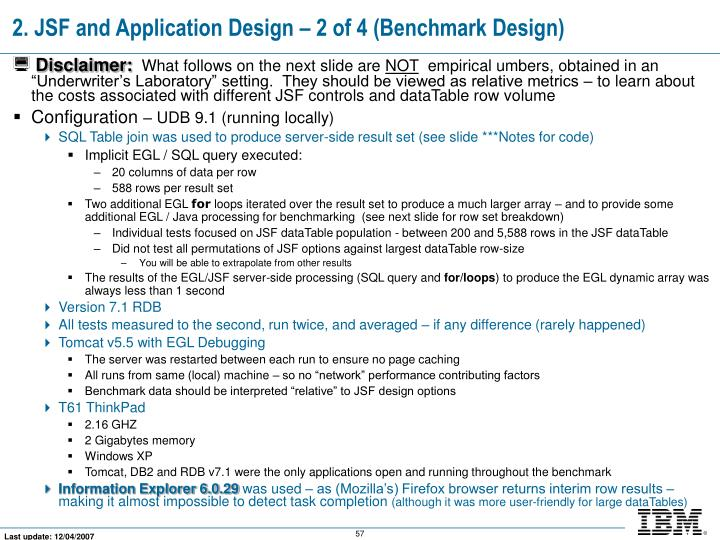 2. JSF and Application Design – 2 of 4 (Benchmark Design)