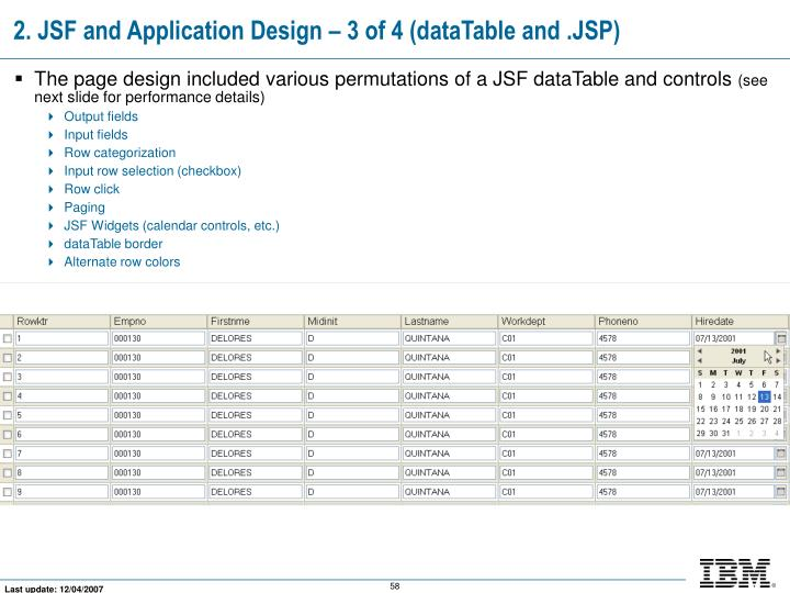 2. JSF and Application Design – 3 of 4 (dataTable and .JSP)