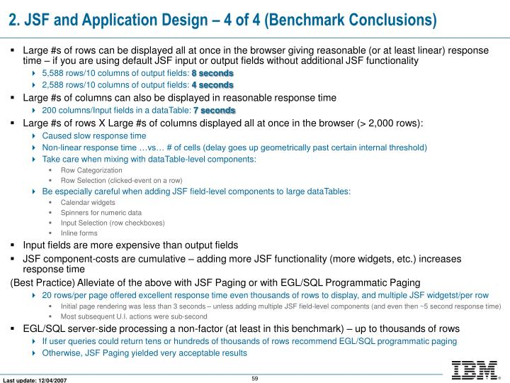 2. JSF and Application Design – 4 of 4 (Benchmark Conclusions)