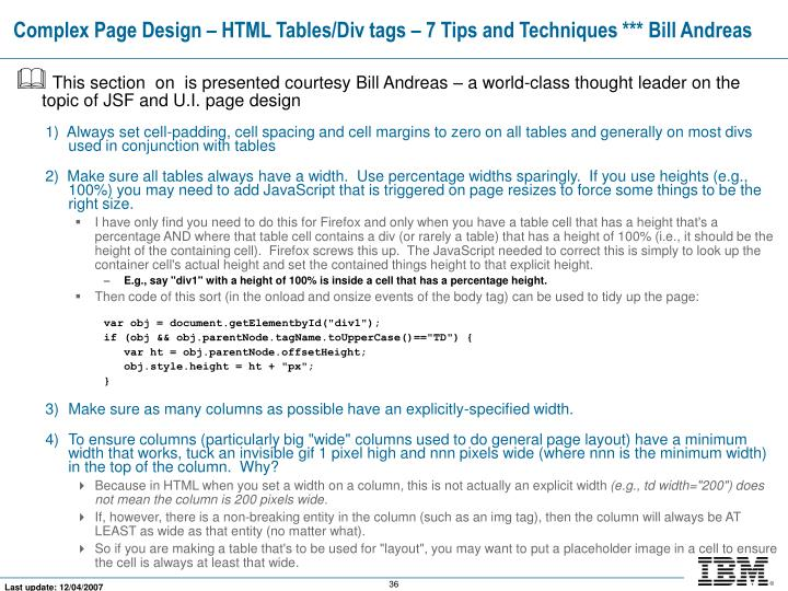Complex Page Design – HTML Tables/Div tags – 7 Tips and Techniques *** Bill Andreas