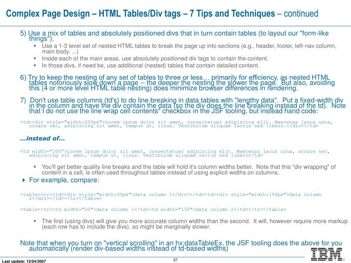 Complex Page Design – HTML Tables/Div tags – 7 Tips and Techniques