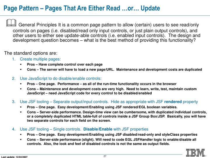 Page Pattern – Pages That Are Either Read …or… Update