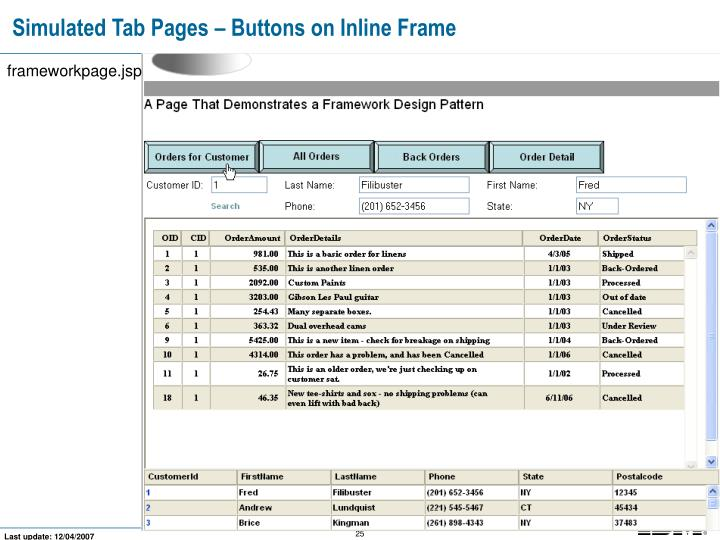 Simulated Tab Pages – Buttons on Inline Frame