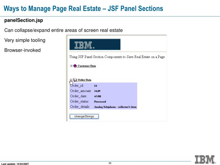 Ways to Manage Page Real Estate – JSF Panel Sections