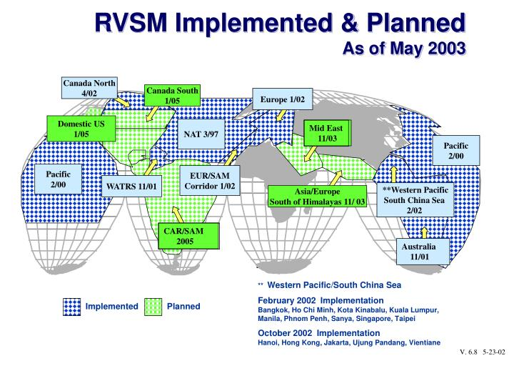 RVSM Implemented & Planned