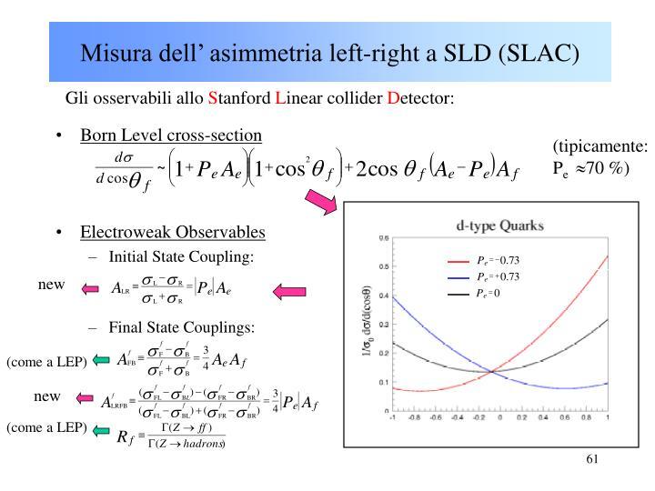 Misura dell' asimmetria left-right a SLD (SLAC)
