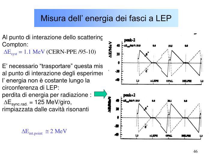 Misura dell' energia dei fasci a LEP