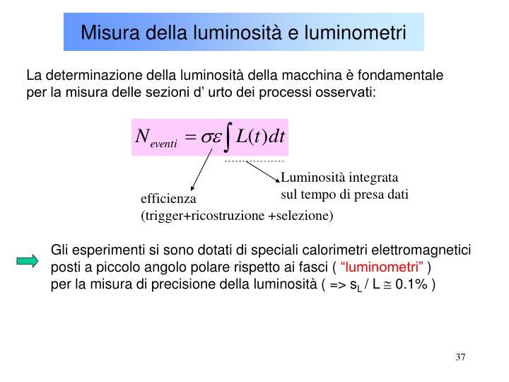 Misura della luminosità e luminometri