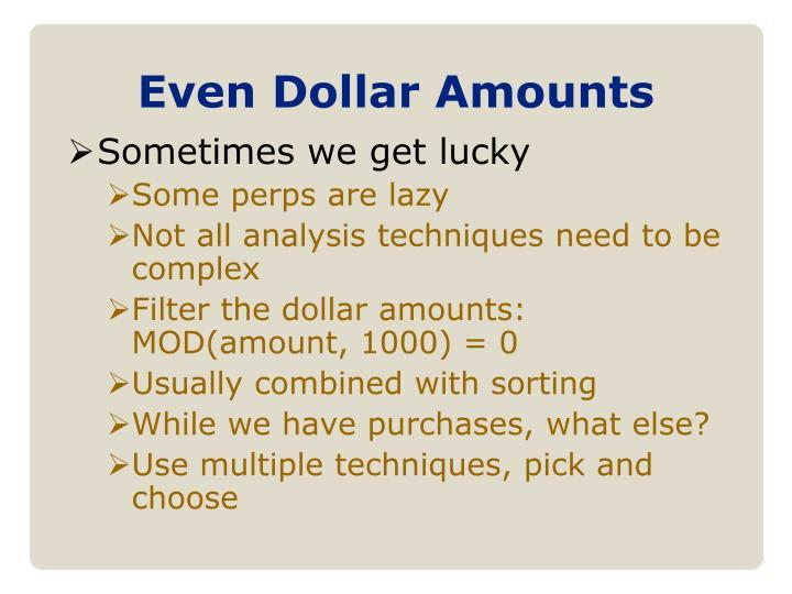 Even Dollar Amounts