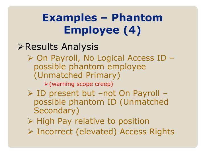 Examples – Phantom Employee (4)