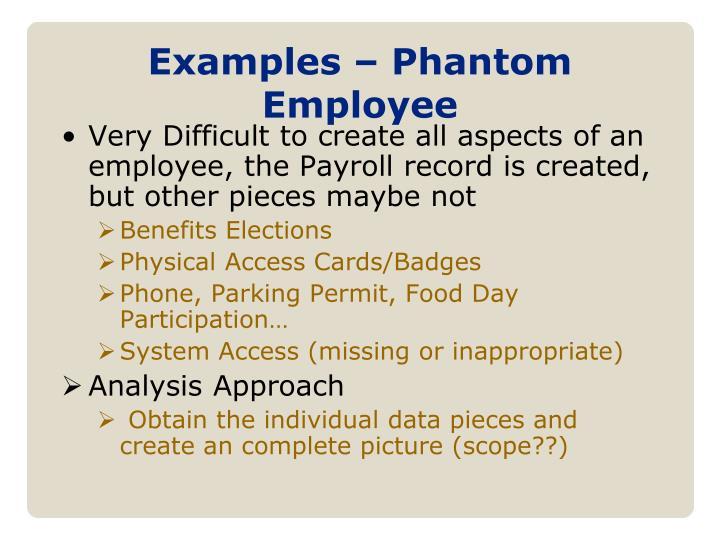 Examples – Phantom Employee