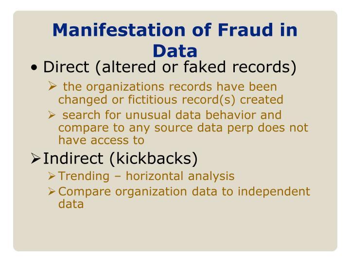 Manifestation of Fraud in Data