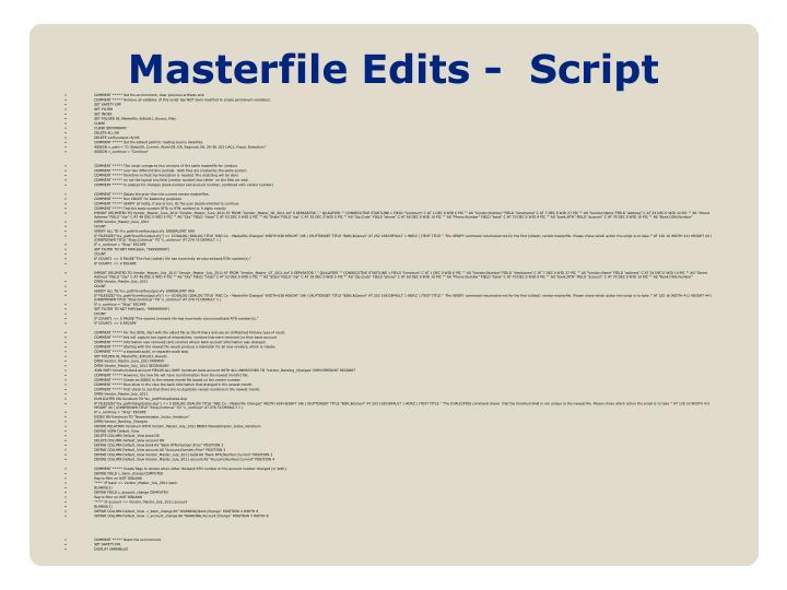 Masterfile Edits -  Script