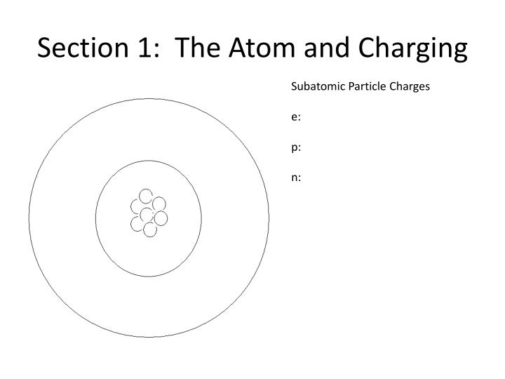 Section 1 the atom and charging