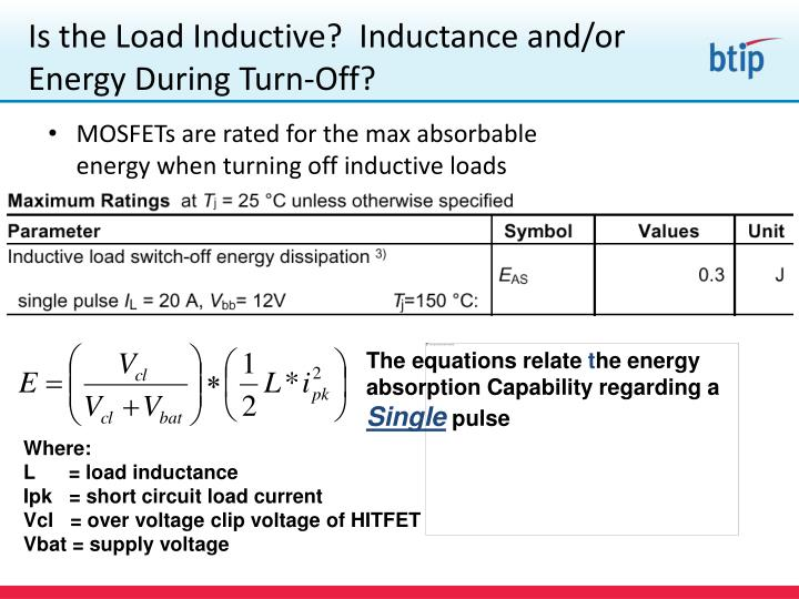 Is the Load Inductive?  Inductance and/or Energy During Turn-Off?