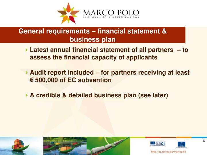 General requirements – financial statement &