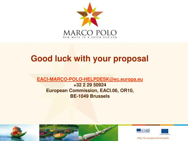 Good luck with your proposal