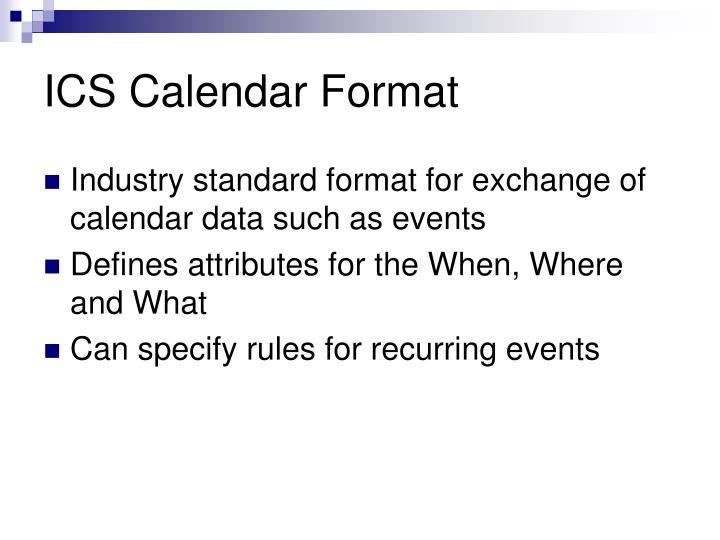 ICS Calendar Format
