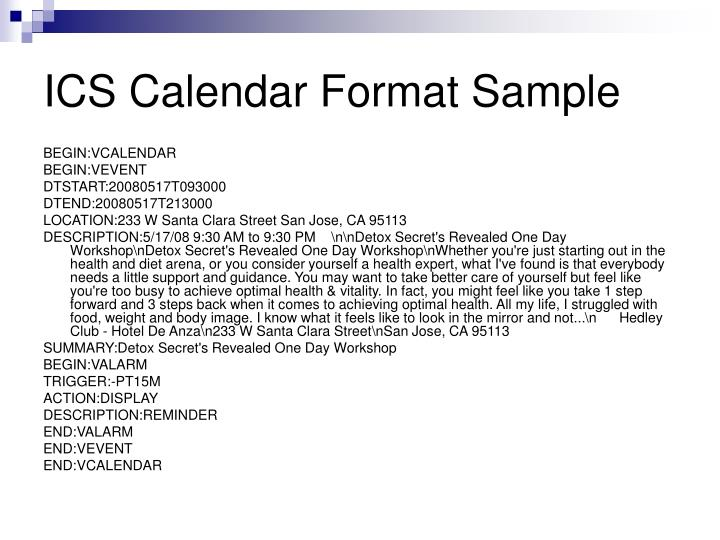 ICS Calendar Format Sample