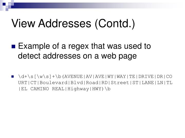 View Addresses (Contd.)
