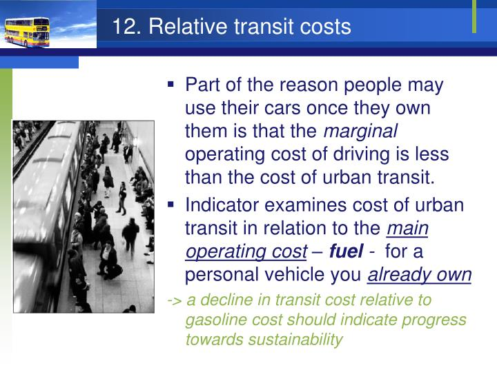 12. Relative transit costs