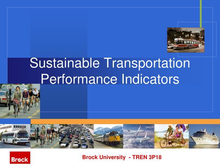 Sustainable transportation performance indicators