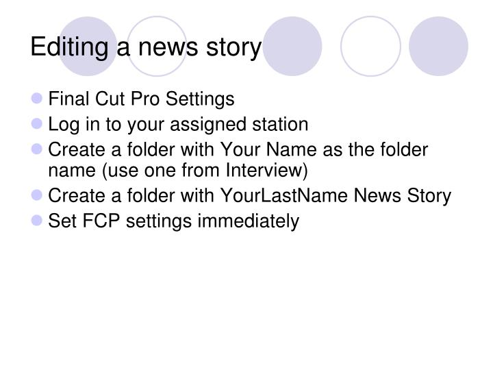 Editing a news story
