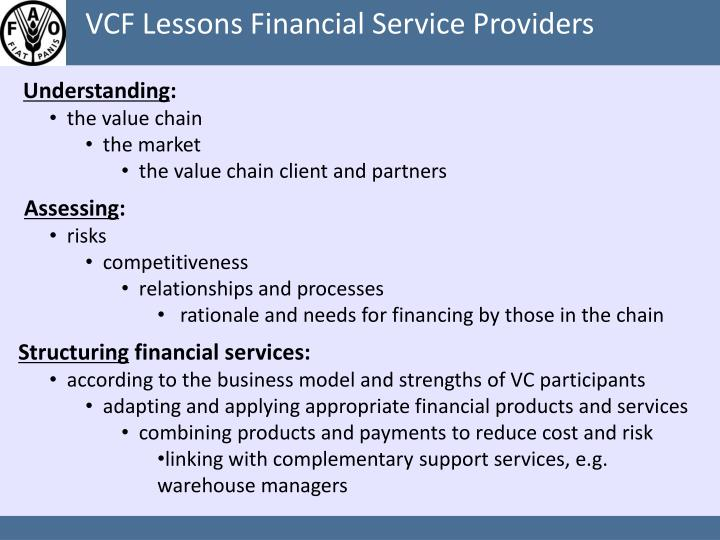 VCF Lessons Financial Service Providers