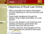 objectives of rural law online