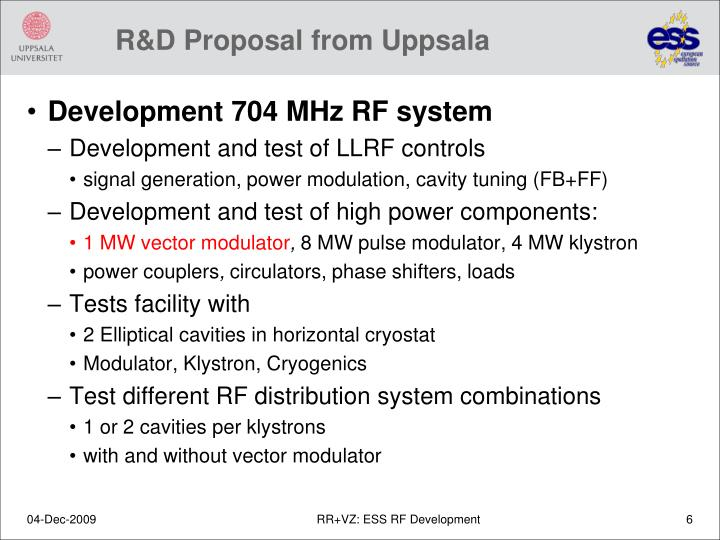 R&D Proposal from Uppsala