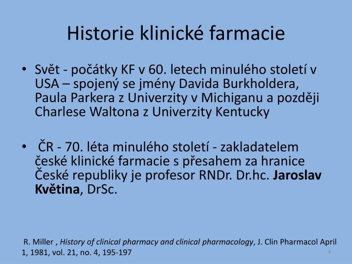 Historie klinické farmacie