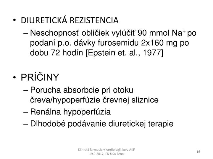 DIURETICKÁ REZISTENCIA