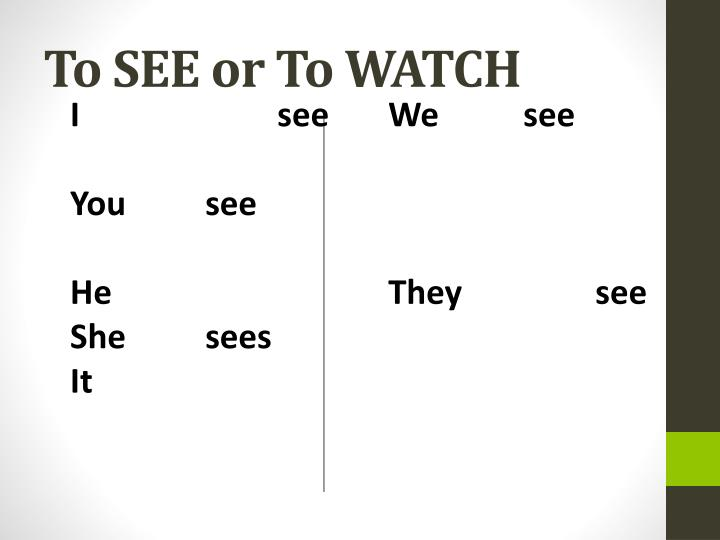 To SEE or To WATCH
