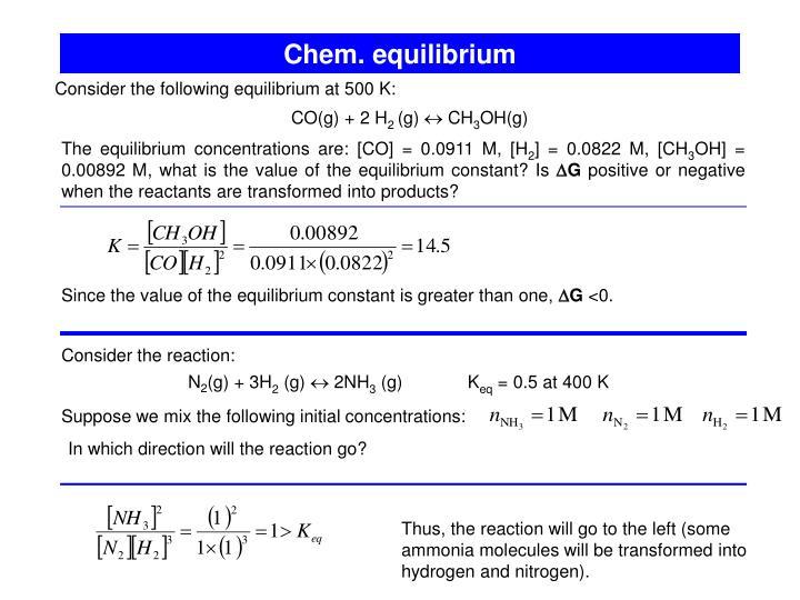 Chem. equilibrium