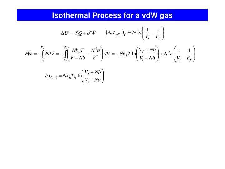 Isothermal Process for a vdW gas