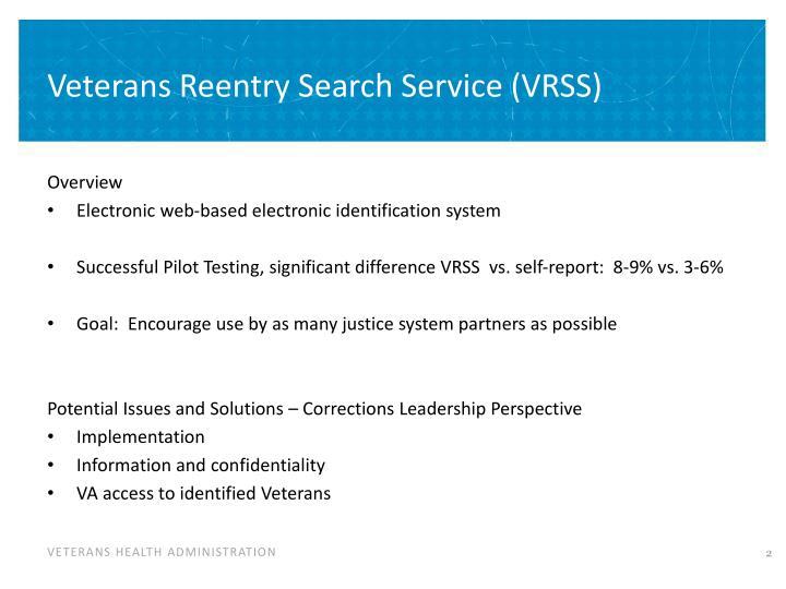 Veterans reentry search service vrss