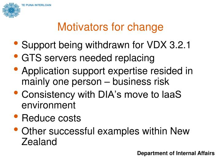 Motivators for change
