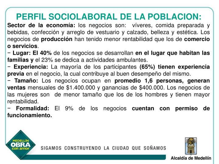 PERFIL SOCIOLABORAL DE LA POBLACION:
