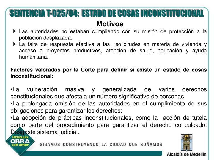 SENTENCIA T-025/04:  ESTADO DE COSAS INCONSTITUCIONAL