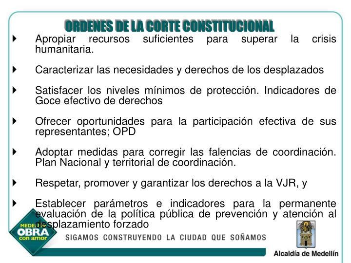 ORDENES DE LA CORTE CONSTITUCIONAL