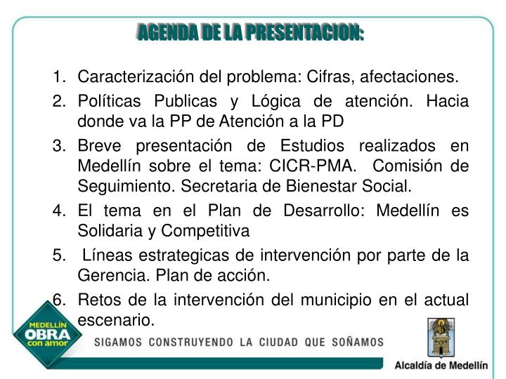 AGENDA DE LA PRESENTACION: