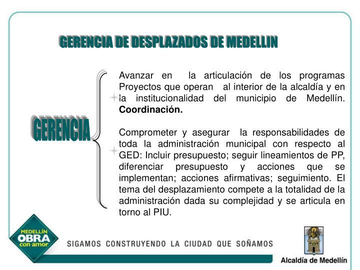 GERENCIA DE DESPLAZADOS DE MEDELLIN