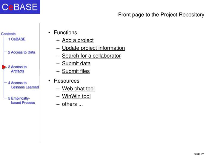 Front page to the Project Repository