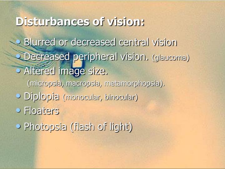 Disturbances of vision: