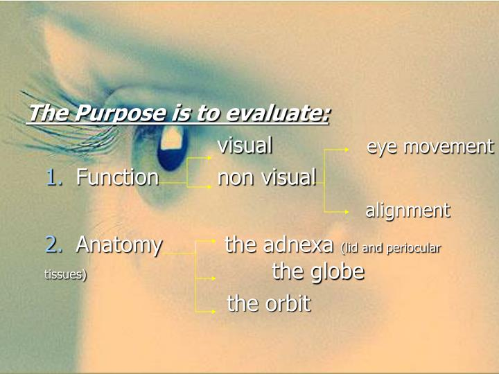 The Purpose is to evaluate: